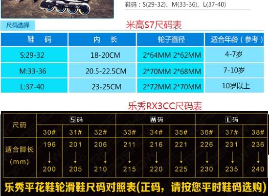 米高S7和乐秀RX3CC的尺码比较