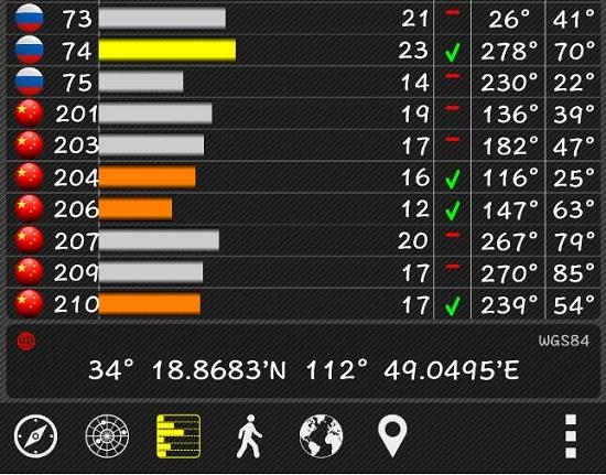 gps test pro应用运行界面(红色国旗图标为北斗卫星)