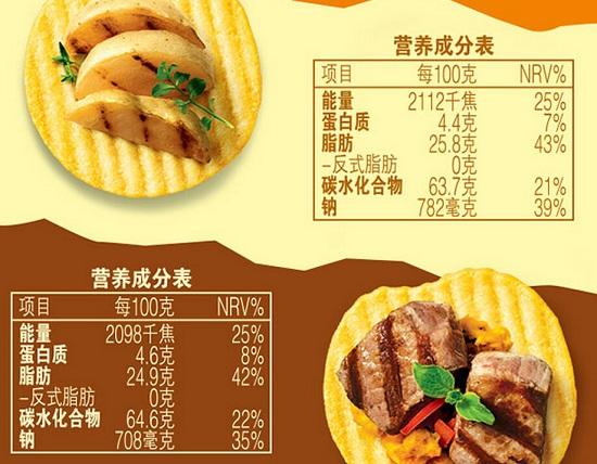 某非油炸薯片营养成份表