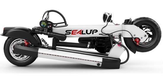 折叠后的希洛普电动滑板车