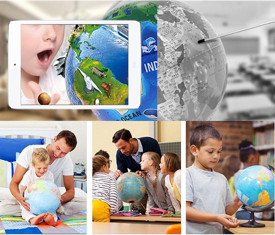 AR地球仪和普通地球仪对比图