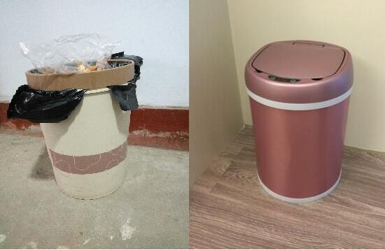 传统垃圾桶和智能垃圾桶的对此