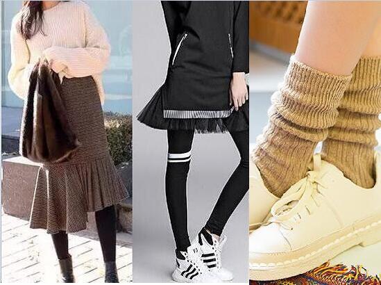 鱼尾裙搭配不同的袜子图片