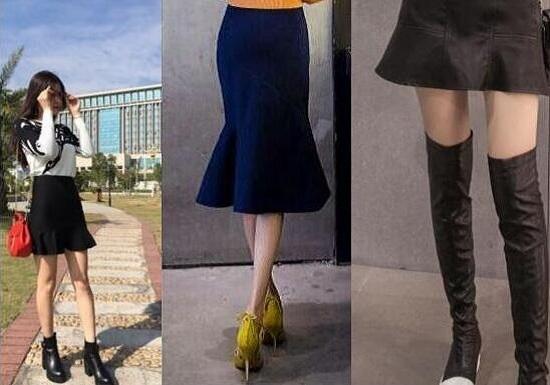 鱼尾裙和短靴、长靴的搭配