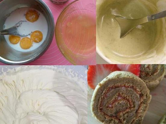 抹茶豆沙蛋糕卷