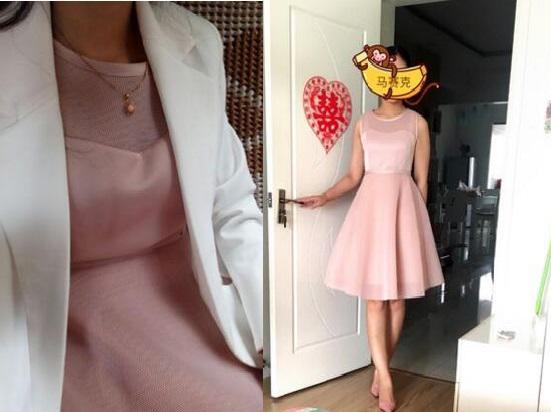 粉色连衣裙搭配白色西装