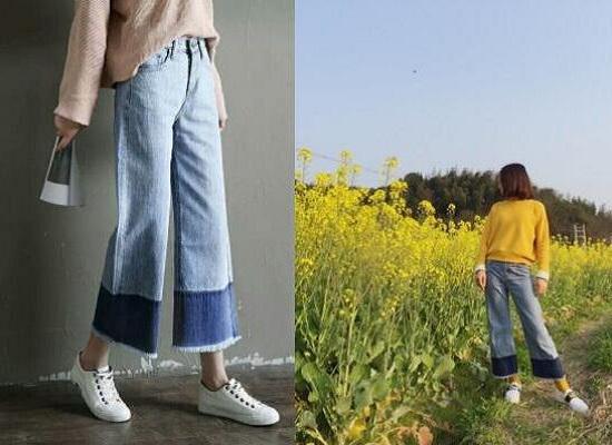 纯色针织衫搭配毛边牛仔阔腿裤