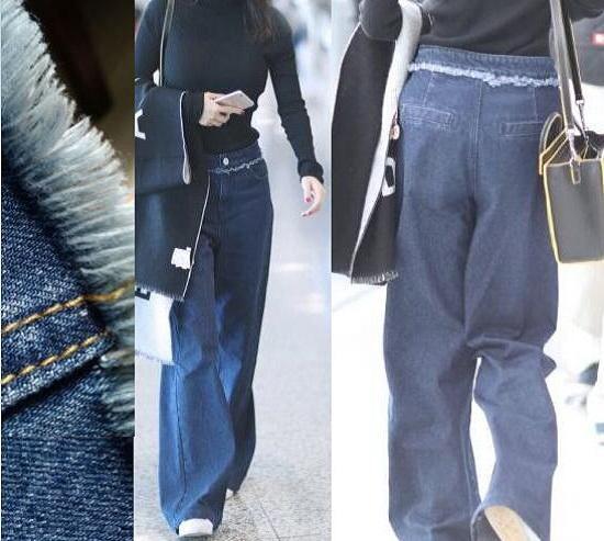牛仔阔腿裤搭配针织衫