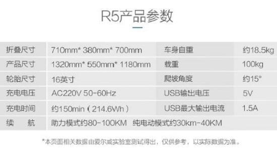 爱尔威(airwheel)R5电助力自行车各项参数