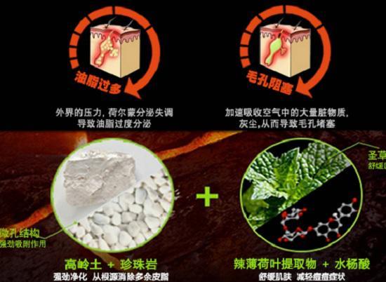 火山岩洗面奶产品宣传图