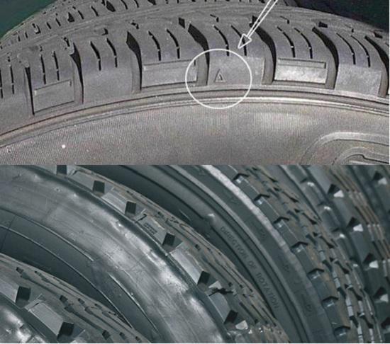 新轮胎与翻新轮胎胎肩对比