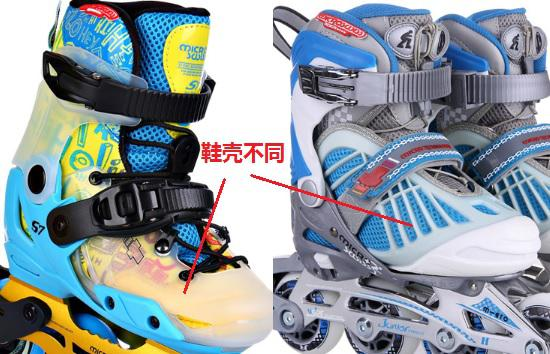 米高S7(左)与米高966的鞋壳不同