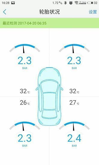 优驾APP上的胎压监测画面