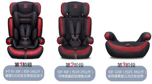9个月-12岁适用的可拆卸式儿童安全座椅