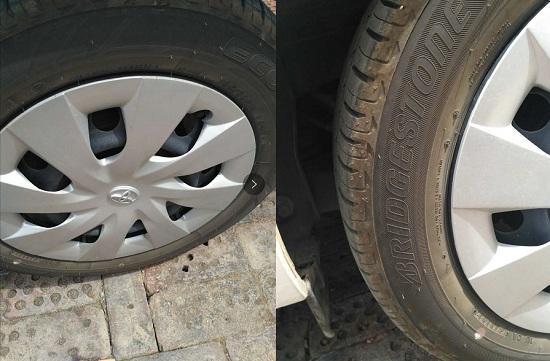 威驰的铁轮毂与轮胎