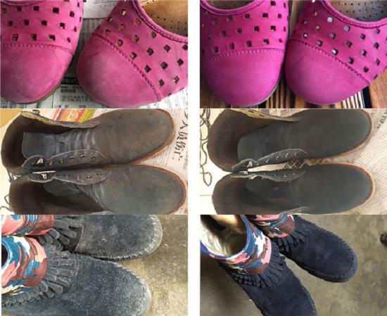 上色前和上色后的反毛皮鞋