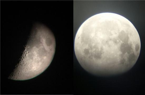 天文望远镜观测到的月球