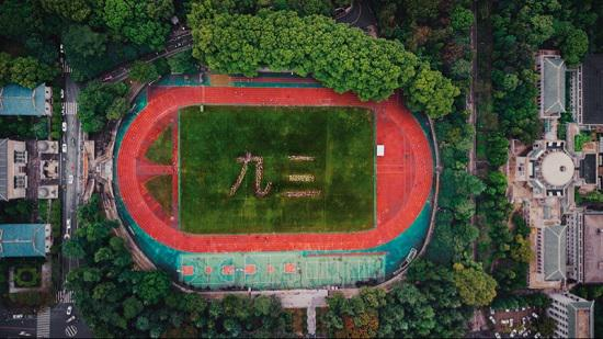 大疆御高空拍摄的体育场