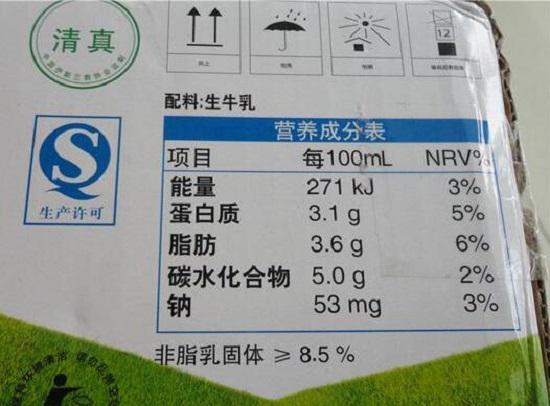 某品牌全脂牛奶的营养成分表