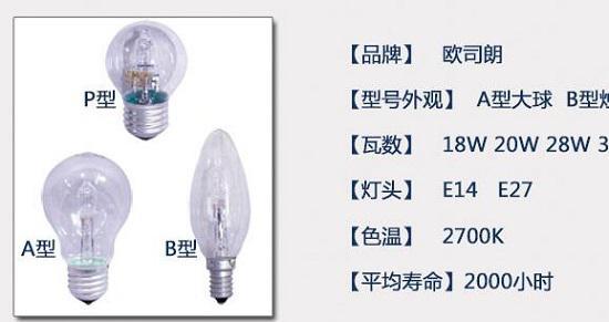商家标示的灯泡参数