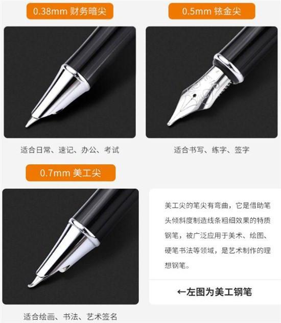 几种笔尖不同的钢笔