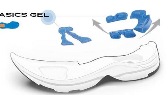 跑步鞋的减震材料(蓝色部分)