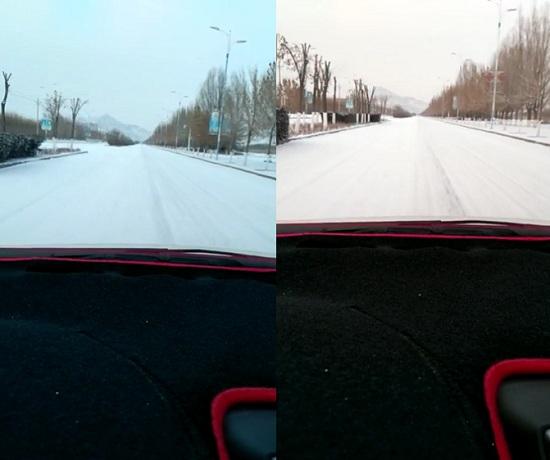 刚下完雪的路面上行车