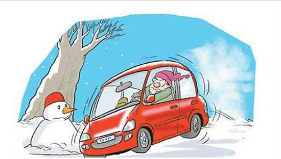 冰雪路上不可猛踩油门及刹车