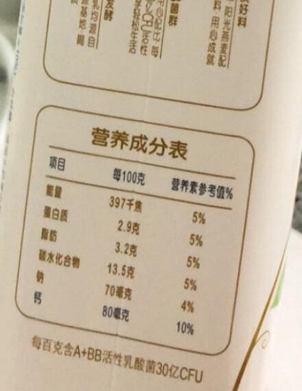 酸奶营养成分表