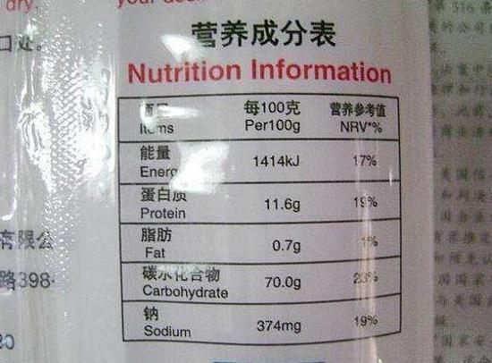 大米营养成分表
